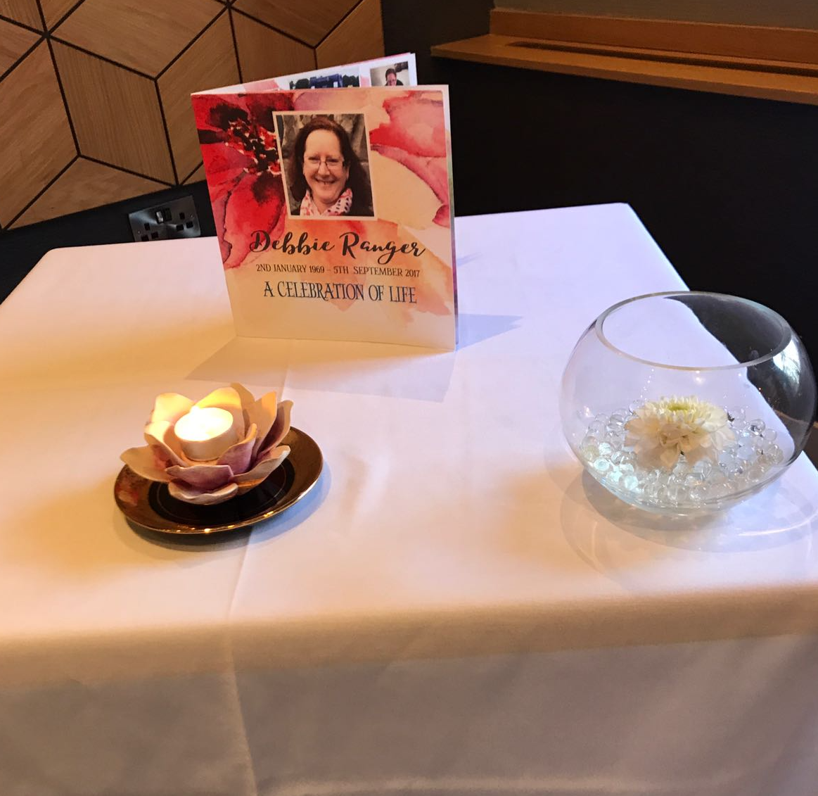 I had this table set up at my wedding service on 30 September to remember my friend Debbie who would have been there.