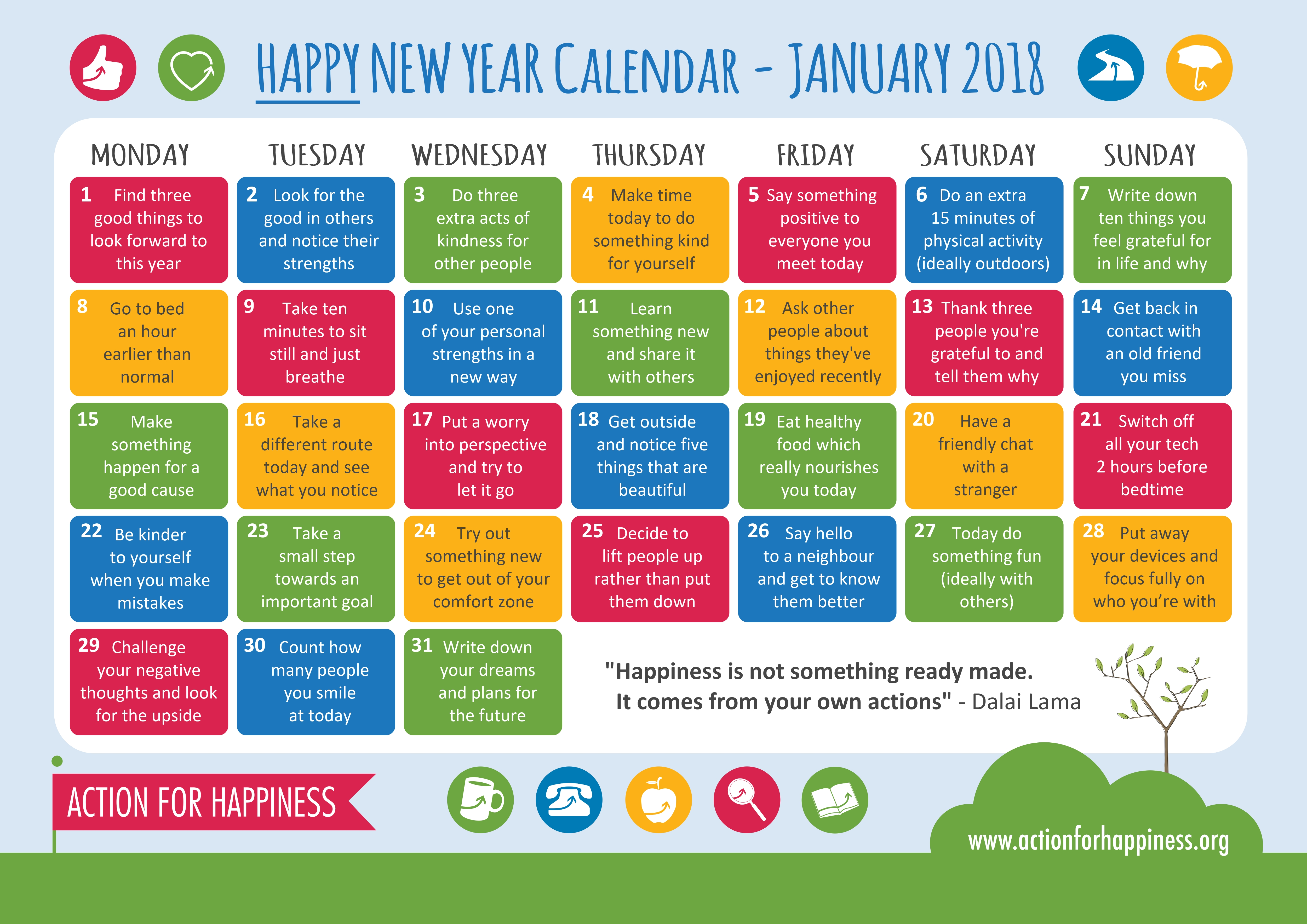 Action for happiness jan calander