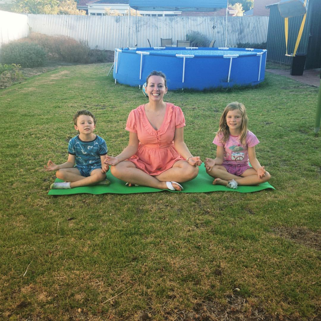 Me teaching mindfulness to my nephew Ollie and niece Daisy in Adelaide, Australia, December 2015